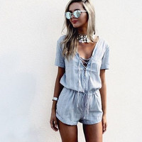 Sky Blue Lace Drawstring Romper