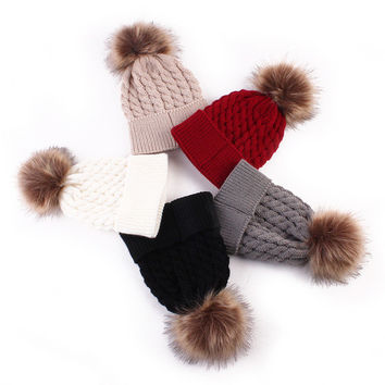 Cute Newborn Baby Winter Hat Cap For Kids Girl Boy Knitted Hats Caps Wool Fur Ball Pompom Hat Children Winter Hat