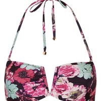 Women's Topshop 'Mixed Bloom' Floral Print Bandeau Bikini