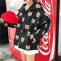 DCCK6HW Moschino' Women Sport Casual Cute Bear Cartoon Print Loose Long Sleeve Hooded Windbreaker Sweater Tops