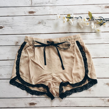 Lace Trim Ribbon Shorts (Taupe)