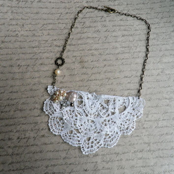 Crochet Lace Bib Statement Necklace, Romantic Shabby Chic Bib Necklace, Pearl Beaded Necklace, Anthropologie Inspired Necklace