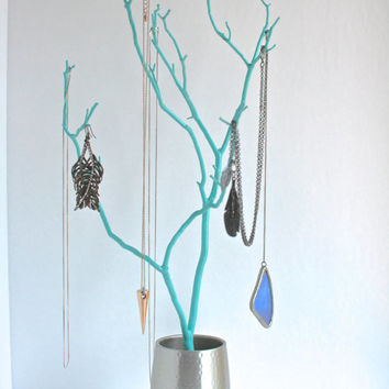 "Jewelry Stand Organizer Tree Turquoise Blue stainless steel 19"" painted tabletop tree necklace hanger bedroom decor for her"