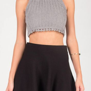 Knitted Bell Bottom Crop Top - Black
