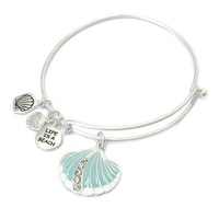 Seashell Life is a Beach Charm Bangle Bracelet