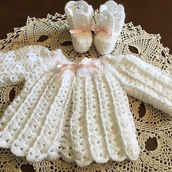 Baby sweater, baby booties, white crochet sweater and booties