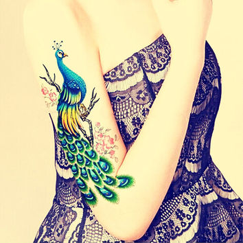 1pc  Peacocks large temporary tattoo ***  fake tattoo body art large tattoo