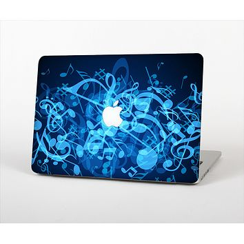 """The Glowing Blue Music Notes Skin Set for the Apple MacBook Pro 15"""" with Retina Display"""