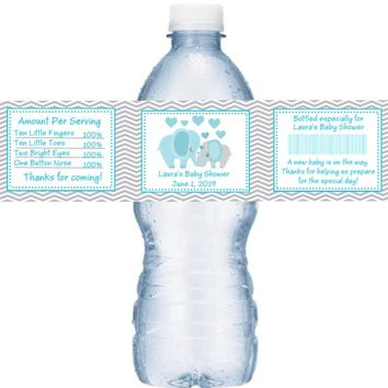 21 Blue Elephant Baby Shower Water Labels