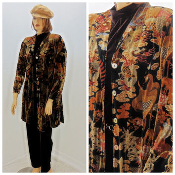 Vintage velvet duster, size L / XL,  80's retro boho velvet jacket, Autumn long velvet coat, made in USA, Sunny Boho