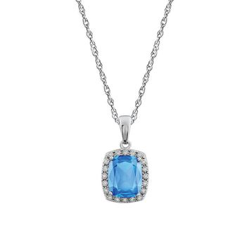 Cushion Swiss Blue Topaz & Diamond Necklace in 14k White Gold, 18 Inch