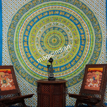 Queen Mandala tapestries, Hippie Hippy Elephant Mandala Wall hanging, Indian Mandala Beach Throw Coverlet, Mandala Curtain Decor Art Table