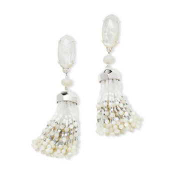 Kendra Scott - Dove Silver Statement Earrings In Ivory Mother of Pearl