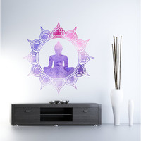 "Midnight & Sunrise Lotus Buddha "" Vinyl Wall Decal"