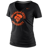 Nike Oklahoma State Cowboys Dri-FIT Ladies School Stamp Legend Performance V-Neck T-Shirt - Black