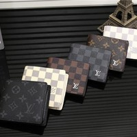 """Louis Vuitton"" Men Purse Fashion Tartan Retro Classic Letter Logo Print Short Section Multi-card Bit Fold Wallet"