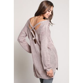Criss Cross Cable Knit Back Sweater - Beige, Mauve, Midnight