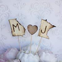 Personalized Cake Topper Engraved Wood States by braggingbags