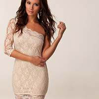 Lace One Sleeve Dress, Rare London