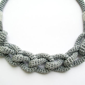 FREE SHIPPING, Grey rope necklace, Knot necklace, Crochet rope