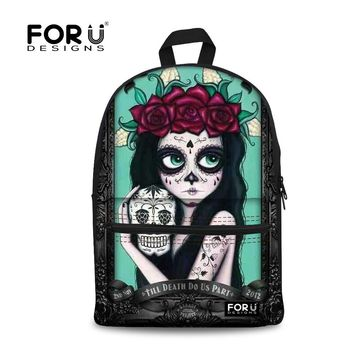 FORUDESIGNS Cute Skull Printing Backpack for Teen Girls 2017 Children School Backpacks Bags Women Bagpack Students Back Pack