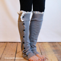 The Miss Molly - Lt. Grey Slouchy Button Down LEG WARMERS w/ Ivory Knit Lace - Legwarmers boot socks (item no. 7-13)
