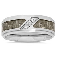 Stainless Steel .10 cttw Diamond Grey Carbon Fiber Inlay Men's Wedding Band