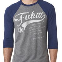 "Unisex ""Choice"" Baseball Tee by Fukitt Clothing (Grey/Navy)"