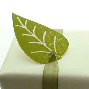 Handmade Green Leaf Tags for Wedding Favors by peaseblossomstudio