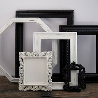 Open Picture Frame Set Of 6  Shabby Chic Black and White Wall Decor