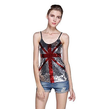 Womens Sequin British Flag ( kinda) in Silver and Red Tank Top
