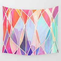 Purple & Peach Love - abstract painting in rainbow pastels Wall Tapestry by Micklyn