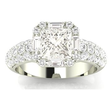 2.3 Ctw 14K White Gold GIA Certified Princess Cut Designer Diamond Engagement Ring