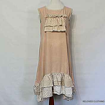 Linen Tunic Dress Simple Natural Clothing / Women's Junior's Earthy Comfy Loose Clothes / Handmade Linen / Reloved Clothing Co
