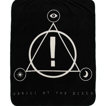 "Licensed cool Panic at the Disco Band LOGO Super Plush Throw Blanket 48""x60"" black & white NWT"