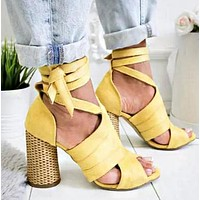Hot Selling Large Size Cross-strapped Sandals Thick-heeled High-heeled Shoes