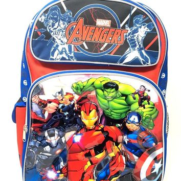 """New 2017 Avengers 3D Brother Team 16"""" Rolling/Roller Backpack Kid Boys School"""