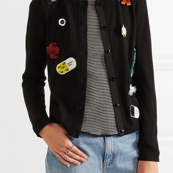Alice + Olivia - Cecila embellished stretch-wool cardigan