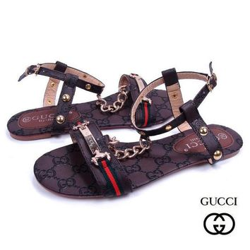 GUCCI Women Casual Stripe Flats Sandals Shoes-1