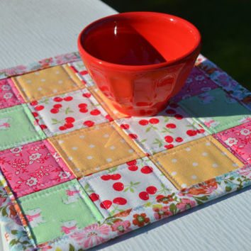 Quilted Postage Stamp Scrappy Cherry Mini Quilt Pam Kitty Picnic Mug Rug Snack Mat Table Mat Dresser Mat Cottage Style Shabby Chic
