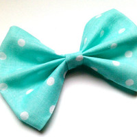 Pin Up Aqua Polka Dot Hair Bow, Spring Accessory