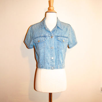 Cropped Jean Jacket Short Sleeve 90s Gap Light Denim Blouse size Medium
