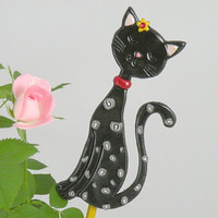 Black Cat Garden Stake  Ornament Table Decorations for by ArzuMusa
