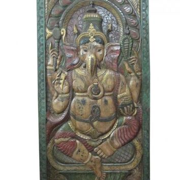 Decorative Hindu God Ganesha Hand Carved Wall Panel