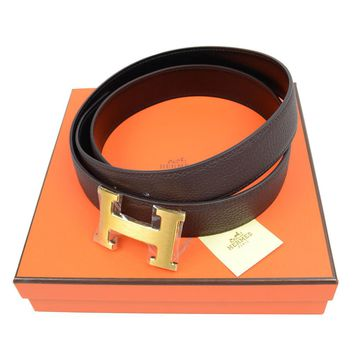 Auth Hermes Belt H Buckle Brown Black Reversible Leather Pre-owned 171213769