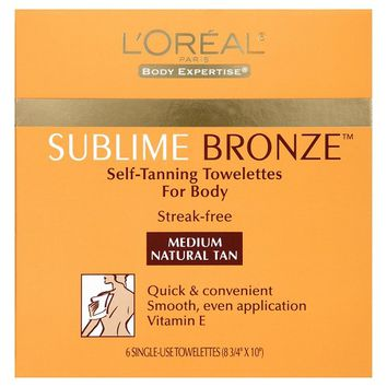 L'Oreal® Paris Sublime Bronze™ Self-Tanning Towelettes Medium Natural Tan -6ct