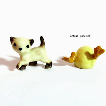 Vintage Porcelain Figurines, Cat / Baby Duck Lot, Tiny Miniatures