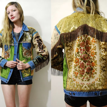Tapestry Jacket 70s Vintage Renewed Denim jacket Patch Jacket Fringe Jacket Velvet Patched Embroidered Dragon HANDMADE Carpet Jacket 1970s S