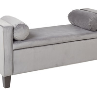 INSPIRED by Bassett Cordoba Storage Bench with Pillows  in Charcoal Velvet Fabric
