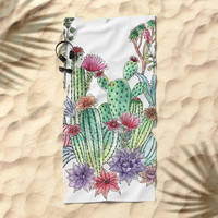 Cactus garden Beach Towel by juliagrifoldesigns